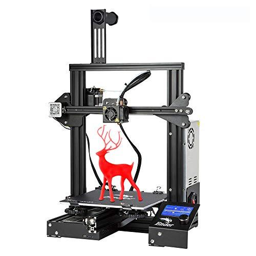 Creality 3D Drucker Ender 3, Vollmetallrahmen 3D-Drucker mit Große Druckgröße 220 * 220 * 250 mm, Stabiler Druck, Einfache Bedienung, 1,75 mm 3D Drucker Filament TPU, PLA, ABS Geeignet