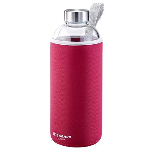 Westmark Trinkflasche, aus Glas mit Aufdruck, inkl. Schutzhülle, 1000 ml, Glas/Silikon/Kautschuk, BPA-frei, Viva, Rot/Silber/Klar, 5274226R