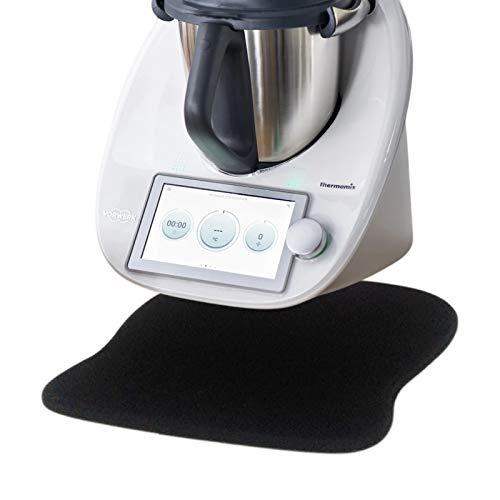 SkingHong Gleitbrett für Thermomix TM6 TM5 - Zubehör Unterlage Anti-Rutsch, Dauerhaft, Schwarz, für Vorwerk Küchenmaschine TM5 TM6