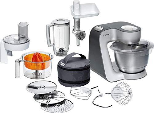 Bosch Küchenmaschine MUM5 Styline MUM56340, Schüssel 3,9 L, Mixer 1,25 L, Fleischwolf, Zitruspresse, Planetenrührwerk, Knethaken, Schlag-, Rührbesen, Durchlaufschnitzler, 3 Scheiben, 900 W, silber