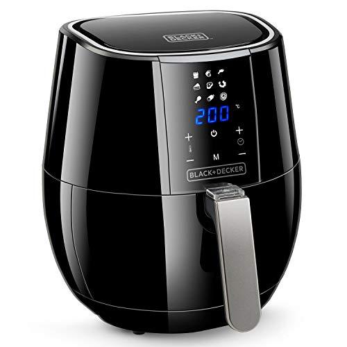 Black+Decker BXAF3500E - Digitale Heißluftfritteuse 1500W, 3l. Ohne Öl. Frittieren, braten, backen und erhitzen. Digitales Touchscreen. Antihaftbeschichtung. Schwarz