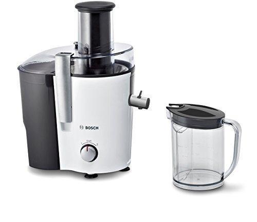 Bosch Entsafter VitaJuice 2 MES25A0, elektrische Saftpresse für Obst und Gemüse, großer Einfüllschacht, 1,25l Saftbehälter, mehrere Geschwindigkeiten, spülmaschinengeeignet, 700 W, weiß/anthrazit