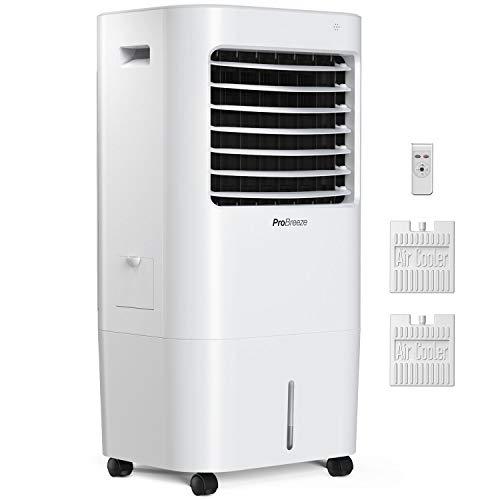 Pro Breeze 10 Liter Mobiler Luftkühler mit 4 Betriebsarten, 3 Geschwindigkeitsstufen, LED Anzeige + Fernbedienung. Verdunstungskühler mit eingebautem Timer und automatischer Oszillation