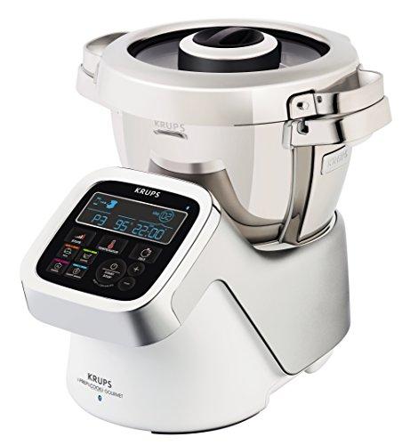 Krups iPrep&Cook Gourmet HP6051 Multifunktions-Küchenmaschine (1550 Watt, mit Kochfunktion, Bluetooth) weiß/silber/edelstahl