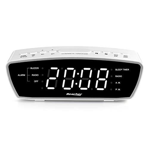 Radiowecker, Reacher Simple Wecker Radio mit USB-Ladebuchse, FM-Radio, Dimmer, 6 Snooze 9-Minuten-Intervalle, einstellbare Wecklautstärke für schwere Schläfer, für Schlafzimmer (weiß)