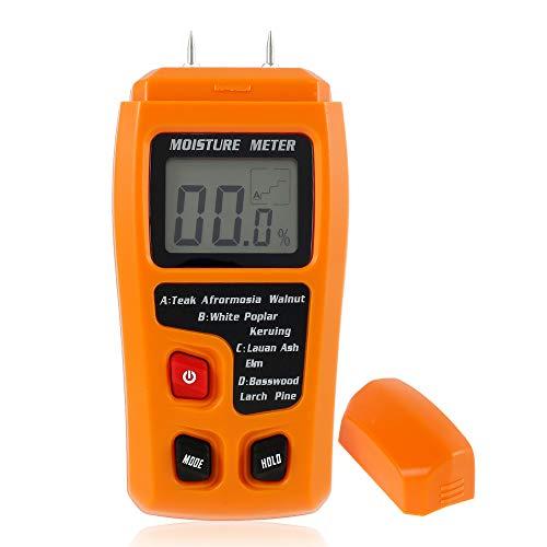 Feuchtigkeitsmessgerät Holz Feuchtemessgerät Digitales Feuchtigkeitsmesser Pin-Typ Feuchtigkeitsdetektor mit HD-LCD Hintergrundbeleuchtun und Batterie für Brennholz Wände Estrich Baustoffen