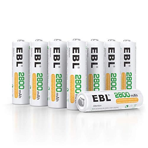 EBL AA Akku 2800mAh 8 Stück - Mignon AA wiederaufladbare Batterien, Typ NI-MH, geringe Selbstentladung mit Staubkasten, 1.2v AA Akkubatterien