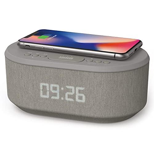 Radiowecker Digital mit USB-Ladegerät, Bluetooth-Lautsprecher, Kabelloses Laden, Wecker Digital Alarm Clock Ladestation mit dimmbares LED-Display – Netzbetrieb Digitaler Wecker ohne Ticken (Grau)