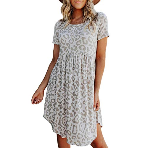 N\C Ladies Summer Leopard Print Short Sleeve Dress Printed Round Neck Slim Short Skirt