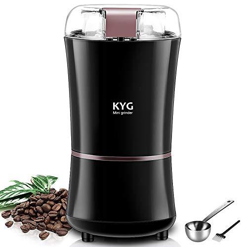 KYG Kaffeemühle 300W Elektrische Kaffeemühle Kaffeebohnen Nüsse Gewürze Getreide Mühle mit Edelstahlmesser 50g Fassungsvermögen (schwarz)