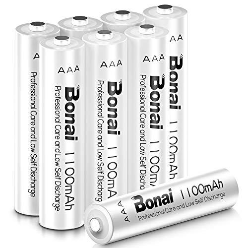 BONAI Akku AAA 1100mAh Wiederaufladbare Batterien hohe Kapazität 1,2V AAA NI-MH Aufladbare Akkubatterien geringe Selbstentladung (8 Stück)