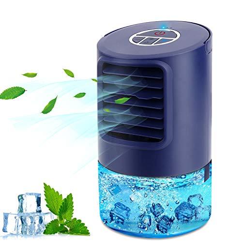 Mobile Klimageräte Mini Luftkühler, Mobile Klimaanlage Leise, Air Cooler Klimagerät Mini 4 in 1 Ventilator, Luftbefeuchter, 3 Geschwindigkeiten, 7 LED Luftkühler Klein für Zuhause und Büro
