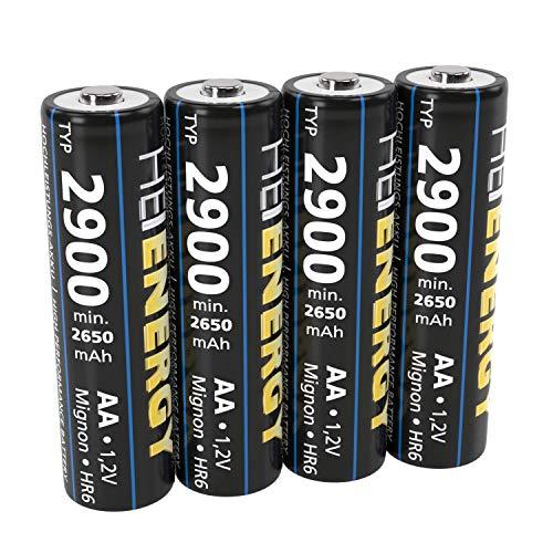HEITECH AA Akku Mignon Typ 2900 1,2V NiMH - 4× Wiederaufladbare Batterien mit geringer Selbstentladung - Akkus für Geräte mit hohem Stromverbrauch