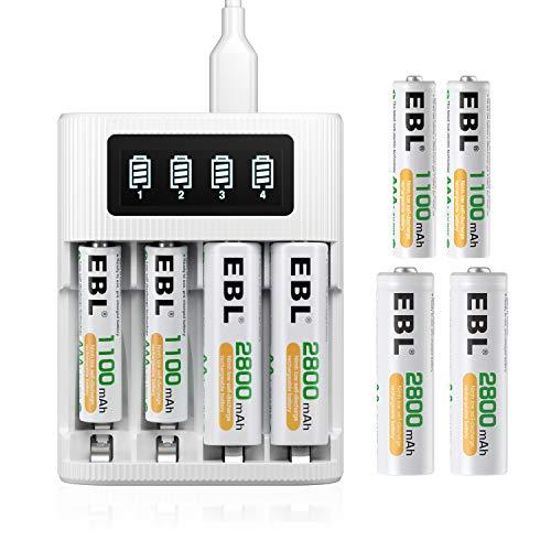 EBL Universal Akkuladegerät mit 4 AA Akkus + 4 AAA Akkus - Ladegerät für AA AAA NiMH NiCd wiederaufladbare Batterien, HD LCD Display, schnelle Batterieladegerät
