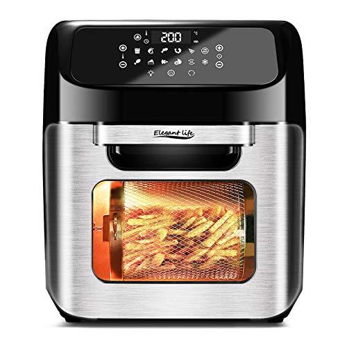 12L Heißluftfritteuse Heißluft-Backofen, Elegant Life12 in 1 Edelstahl Toasterofen mit Touchpanel inklusive Deluxe-Zubehörsatz und Rezeptbuch für Air Fry Toast Braten Grillen Dehydrate, 1800W