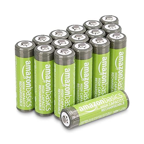 Amazon Basics – AA-Batterien mit hoher Kapazität, wiederaufladbar, 2400 mAh, 16 Stück, vorgeladen
