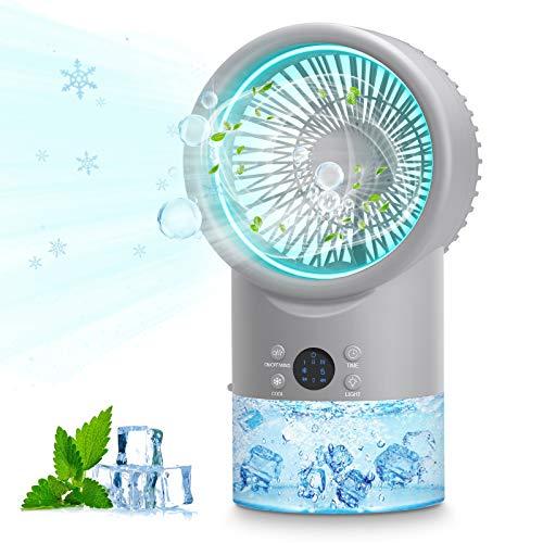 Mobile Klimageräte Mini Luftkühler, Air Cooler Klimagerät Mini 4 in 1 Ventilator, Luftbefeuchter, Mobile Klimaanlage Leise, 3 Geschwindigkeiten, Luftkühler Klein für Zuhause und Büro (7 Farben)