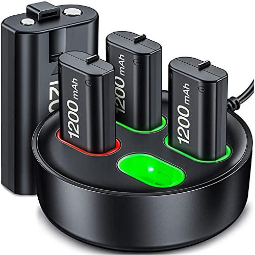 Controller Wiederaufladbaren Akku für Xbox One/Xbox Series X/S, Controller Station with 4X 1200mhA Xbox One Wiederaufladbaren Akku, Ladegerät Kit mit Xbox Series Battery Akku für Xbox One/One S/ Elite