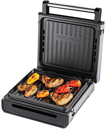 George Foreman Kontaktgrill Smokeless (87% weniger Rauch, abnehmbare & spülmaschinengeeignete Grillplatten, 200°C Grilltemperatur, Edelstahlgehäuse) Tischgrill, Panini Maker, Sandwich Maker 28000-56
