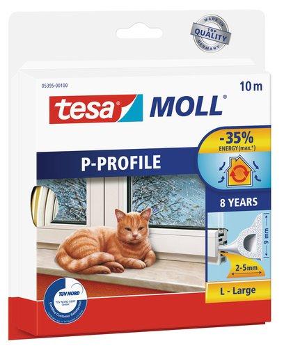 tesamoll P-Profil Gummidichtung - Selbstklebende Dichtung zum Isolieren von Spalten an Fenstern und Türen - Weiß - 10 m x 9 mm x 2-5 mm