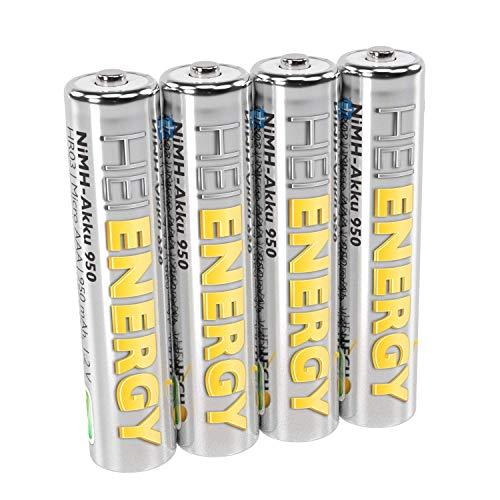 HEITECH AAA Akku Micro 950 mAh 1,2V NiMH TÜV geprüft 4 Stück - Wiederaufladbare Batterien mit geringer Selbstentladung - Akkus für Geräte mit hohem Stromverbrauch