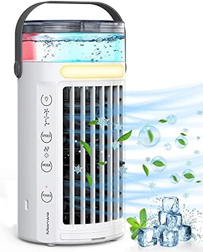 Mobile Klimageräte, Manwe Luftkühler Mini Persönliche Klimaanlage Air Cooler USB Verdunstungskühler Mit Wasserkühlung Luftbefeuchtung, 3 Windgeschwindigkeiten