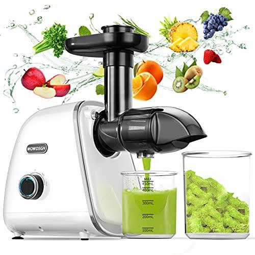 WOWDSGN Slow Juicer Entsafter Gemüse und Obst - BPA-frei Profi Entsafter mit Ruhiger Motor und Umkehrfunktion - Entsafter elektrisch 150W Weiß
