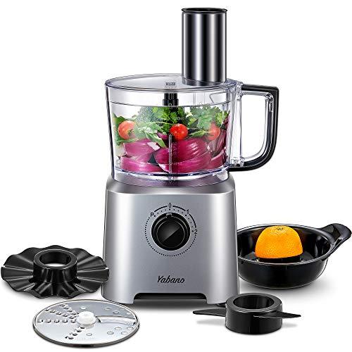 Küchenmaschine Multifunktions Yabano, 6 IN 1 Food Processor, Standmixer, Mixer, Zerkleinerer, Entsafter, Multi Mixer mit Knethaken, Häcksler, Reibe, 3 Geschwindigkeiten, 1,4 Liter, 700W