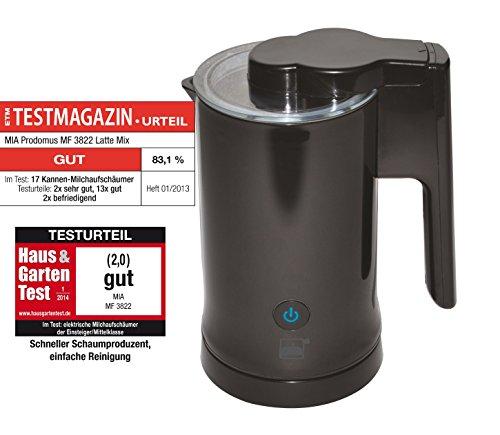 MilkTwister Elektrischer Milchaufschäumer - Milcherwärmer kabellos und beschichtet,580 ml, 3in1 Funktionen (Milch aufschäumen, erhitzen und kalt aufschäumen), schwarz,inkl. 1x Kakaopulver 250gr