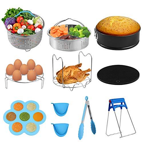 Tanice Zubehör für Instant Pot, 10 Stücke Zubehörset für Schnellkochtopf 5.3-6.8Qt Beinhaltet Gemüsedampferkorb, Springform, Silikonform, Eierdampfergestell, Dampfregaltrivet