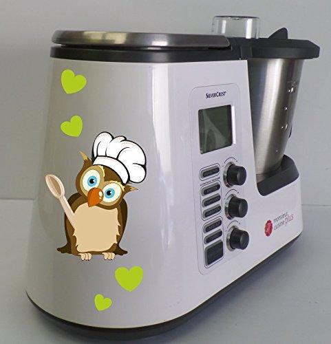 wodtke-werbetechnik Aufkleber passend für Monsieur Cuisine Plus Eule Koch grün