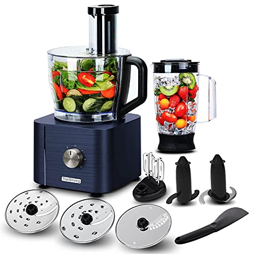 TopStrong Küchenmaschine,Küchenmaschine multifunktional,Multifunktions-Küchenmaschine 1100W mit 3,2L Zerkleinerer &1,5L Standmixer, 9 Funktionen,3 Upgrade Schneidescheiben,Blau